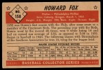 1953 Bowman #158   Howard Fox Back Thumbnail