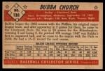 1953 Bowman #138   Bubba Church Back Thumbnail