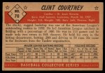 1953 Bowman #70   Clint Courtney  Back Thumbnail