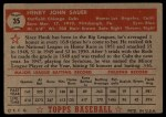 1952 Topps #35 RED Hank Sauer  Back Thumbnail