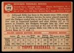 1952 Topps #172   Eddie Miksis Back Thumbnail