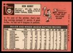 1969 Topps #494   Ken Berry Back Thumbnail