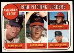 1969 Topps #9   -  Denny McLain / Luis Tiant / Dave McNally / Mel Stottlemyre AL Pitching Leaders Front Thumbnail
