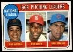 1969 Topps #10  1968 NL Pitching Leaders  -  Juan Marichal / Bob Gibson / Fergie Jenkins Front Thumbnail