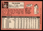 1969 Topps #388  Tom McCraw  Back Thumbnail