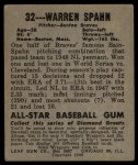 1949 Leaf #32  Warren Spahn  Back Thumbnail