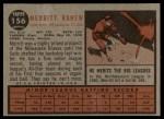 1962 Topps #156 A Merritt Ranew  Back Thumbnail