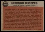 1962 Topps #306  Redbird Rippers  -  Lindy McDaniel / Larry Jackson Back Thumbnail