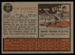 1962 Topps #404   Tim Harkness Back Thumbnail