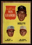 1962 Topps #58  1961 NL Wins Leaders  -  Joe Jay / Warren Spahn / Jim O'Toole Front Thumbnail