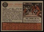 1962 Topps #181 A  Paul Brown Back Thumbnail