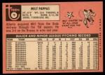 1969 Topps #79   Milt Pappas Back Thumbnail