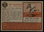 1962 Topps #339  Jose Valdivielso  Back Thumbnail