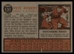 1962 Topps #131 GRN  Pete Richert Back Thumbnail