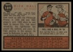 1962 Topps #189 GRN  Dick Hall Back Thumbnail