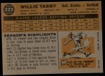 1960 Topps #322   Willie Tasby Back Thumbnail
