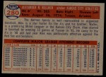 1957 Topps #280  Alex Kellner  Back Thumbnail