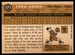 1960 Topps #272  Fred Green  Back Thumbnail