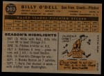1960 Topps #303   Billy O'Dell Back Thumbnail