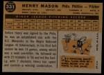 1960 Topps #331   Henry Mason Back Thumbnail