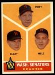 1960 Topps #470  Senators Coaches  -  Bob Swift / Ellis Clary / Sam Mele Front Thumbnail