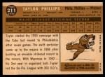 1960 Topps #211   Taylor Phillips Back Thumbnail