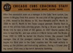 1960 Topps #457  Cubs Coaches  -  Charlie Root / Lou Klein / Elvin Tappe Back Thumbnail