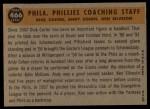 1960 Topps #466  Phillies Coaches  -  Ken Silvestri / Dick Carter / Andy Cohen Back Thumbnail