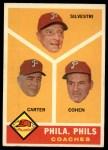 1960 Topps #466  Phillies Coaches  -  Ken Silvestri / Dick Carter / Andy Cohen Front Thumbnail