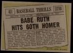 1961 Topps #401  Babe Ruth Hits 60th Homer  -  Babe Ruth Back Thumbnail