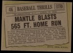 1961 Topps #406   -  Mickey Mantle Mantle Blasts 565 FT. Home Run Back Thumbnail