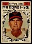 1961 Topps #566  All-Star  -  Paul Richards Front Thumbnail