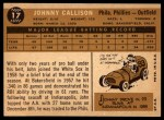 1960 Topps #17   Johnny Callison Back Thumbnail