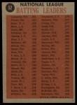 1962 Topps #52  1961 NL Batting Leaders  -  Roberto Clemente / Vada Pinson / Ken Boyer / Wally Moon Back Thumbnail