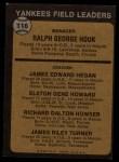1973 Topps #116 NAT Yankees Field Leaders  -  Ralph Houk / Jim Hegan /  Elston Howard / Dick Howser / Jim Turner Back Thumbnail