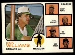 1973 Topps #179 ORG A's Field Leaders  -  Dick Williams / Jerry Adair / Vern Hoscheit / Irv Noren / Wes Stock Front Thumbnail