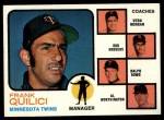 1973 Topps #49 ORG Twins Leaders  -  Frank Quilici / Vern Morgan / Bob Rodgers / Ralph Rowe / Al Worthington Front Thumbnail