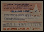 1953 Johnston Cookies #7   Ernie Johnson  Back Thumbnail