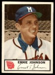 1953 Johnston Cookies #7   Ernie Johnson  Front Thumbnail