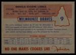 1953 Johnston Cookies #9   Don Liddle Back Thumbnail