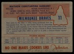 1953 Johnston Cookies #11   Max Surkont  Back Thumbnail