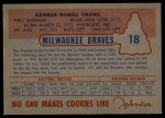 1953 Johnston Cookies #18  George Crowe   Back Thumbnail