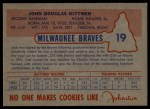 1953 Johnston Cookies #19   Jack Dittmer  Back Thumbnail