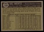 1961 Topps #340   Vic Wertz Back Thumbnail