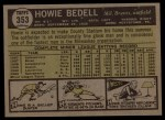 1961 Topps #353   Howie Bedell Back Thumbnail