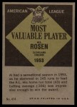 1961 Topps #474   -  Al Rosen Most Valuable Player Back Thumbnail