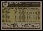 1961 Topps #367   Jim Rivera Back Thumbnail